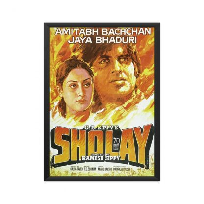 Black framed Sholay poster