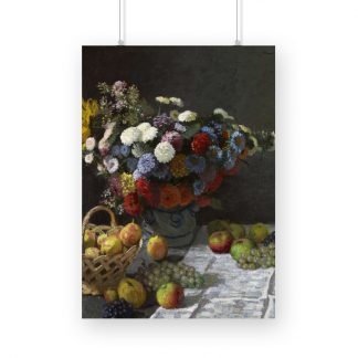 Still Life with Flowers and Fruit (1869) by Claude Monet. Original from the J.Paul Getty Museum.Spring Flowers (1864) by Claude Monet. Original from The Cleveland Museum of Art