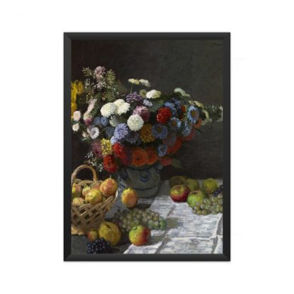 framed Still Life with Flowers and Fruit (1869) by Claude Monet. Original from the J.Paul Getty Museum.