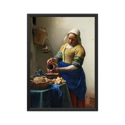 framed The Milkmaid (ca. 1660) by Johannes Vermeer
