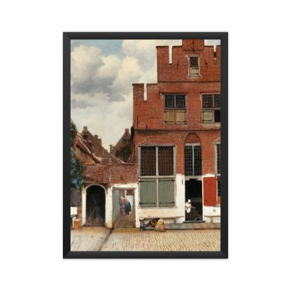 framed The Little Street (ca. 1658) by Johannes Vermeer. Original from The Rijksmuseum.
