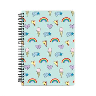 rainbows, ice-cream, pizza and hearts on a notebook with blue background