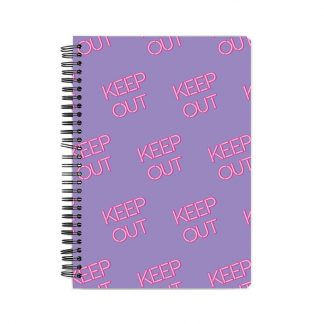 Keep Out bnotebook with purple glow text and purple background