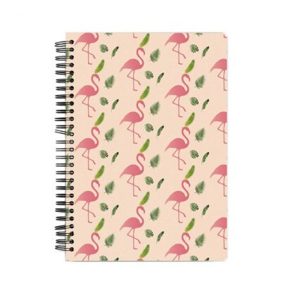 pink flamingos wit green leaves on pink background