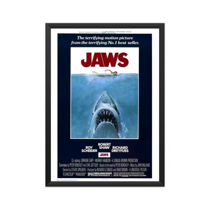 framed jaws movie poster