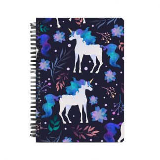 purple-blue unicorn notebook