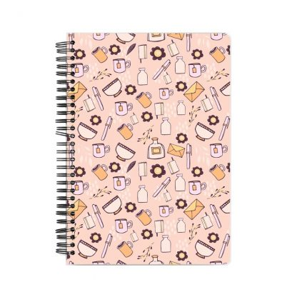 notebook with pink background and flowers, cups, mugs, and small books