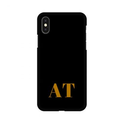 Black phone cover with custom initials