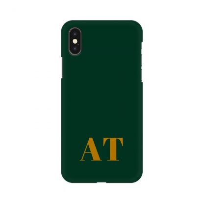 green phone cover with custom initials