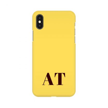 yellow phone cover with custom initials