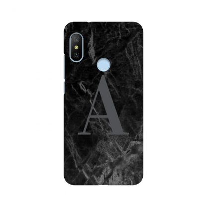 custom letter on black and grey marble mobile cover