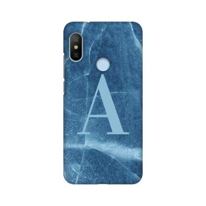 custom letter on blue marble mobile cover