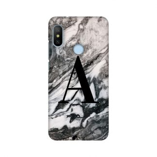 custom letter on black and white marble mobile cover