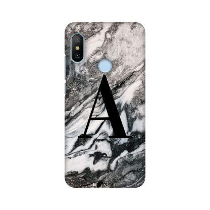 custom letter on black and white marble mobile cover